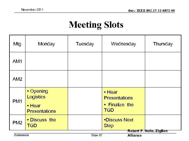 November 2011 doc. : IEEE 802. 15 -11 -0852 -00 Meeting Slots Mtg Monday