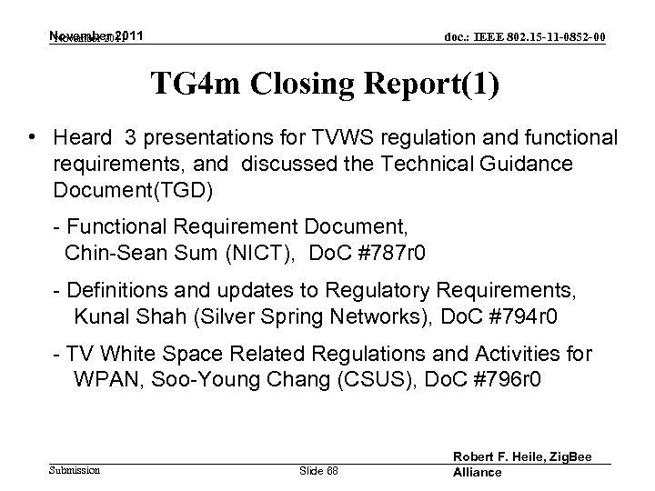 November 2011 doc. : IEEE 802. 15 -11 -0852 -00 TG 4 m Closing