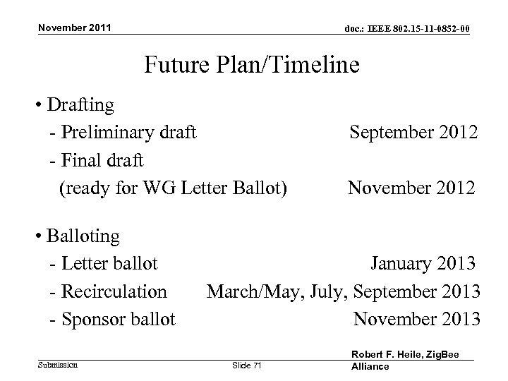 November 2011 doc. : IEEE 802. 15 -11 -0852 -00 Future Plan/Timeline • Drafting