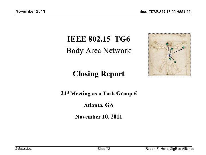 November 2011 doc. : IEEE 802. 15 -11 -0852 -00 IEEE 802. 15 TG