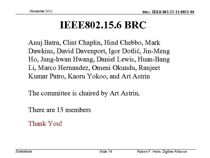 November 2011 doc. : IEEE 802. 15 -11 -0852 -00 IEEE 802. 15. 6