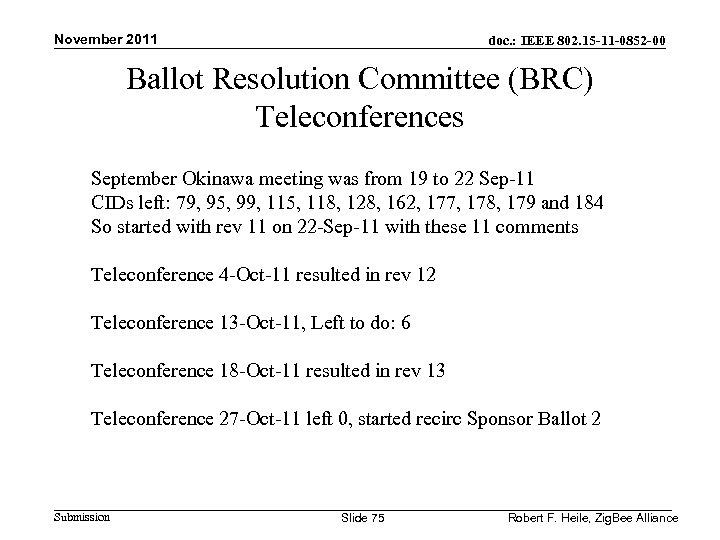 November 2011 doc. : IEEE 802. 15 -11 -0852 -00 Ballot Resolution Committee (BRC)