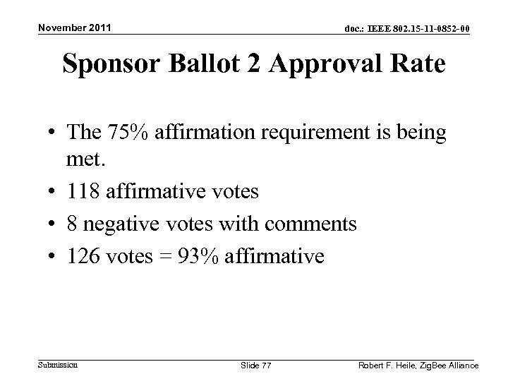 November 2011 doc. : IEEE 802. 15 -11 -0852 -00 Sponsor Ballot 2 Approval