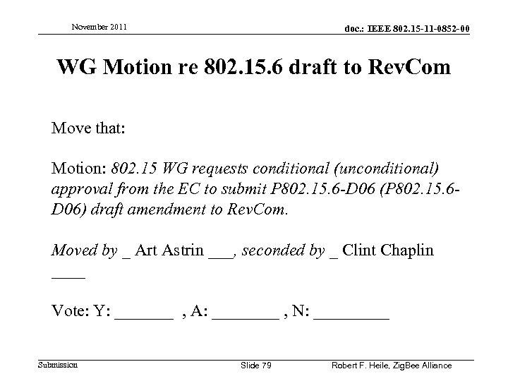 November 2011 doc. : IEEE 802. 15 -11 -0852 -00 WG Motion re 802.