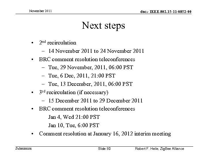 November 2011 doc. : IEEE 802. 15 -11 -0852 -00 Next steps • 2