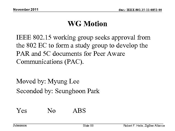 November 2011 doc. : IEEE 802. 15 -11 -0852 -00 WG Motion IEEE 802.
