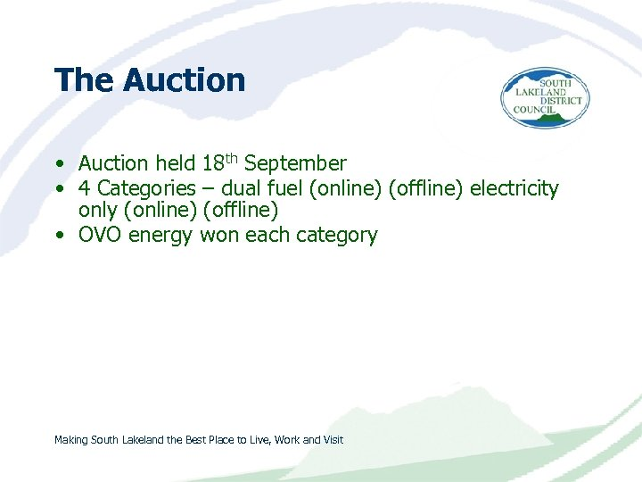 The Auction • Auction held 18 th September • 4 Categories – dual fuel
