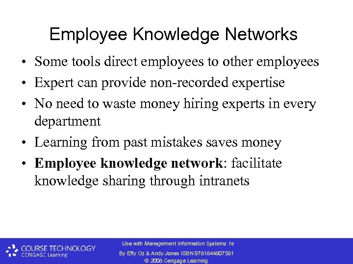 Employee Knowledge Networks • Some tools direct employees to other employees • Expert can
