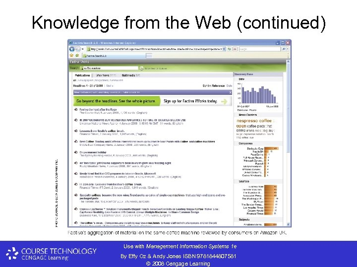 Knowledge from the Web (continued) Use with Management Information Systems 1 e By Effy