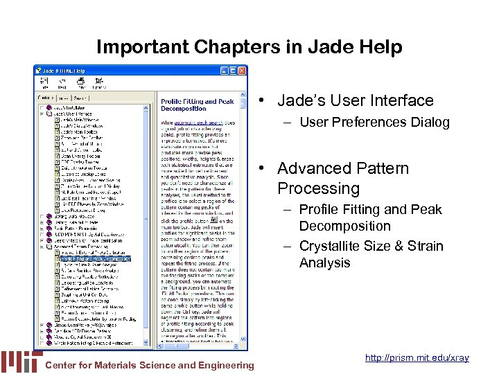 Important Chapters in Jade Help • Jade's User Interface – User Preferences Dialog •