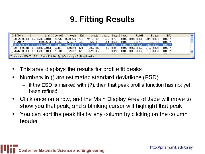 9. Fitting Results • This area displays the results for profile fit peaks •