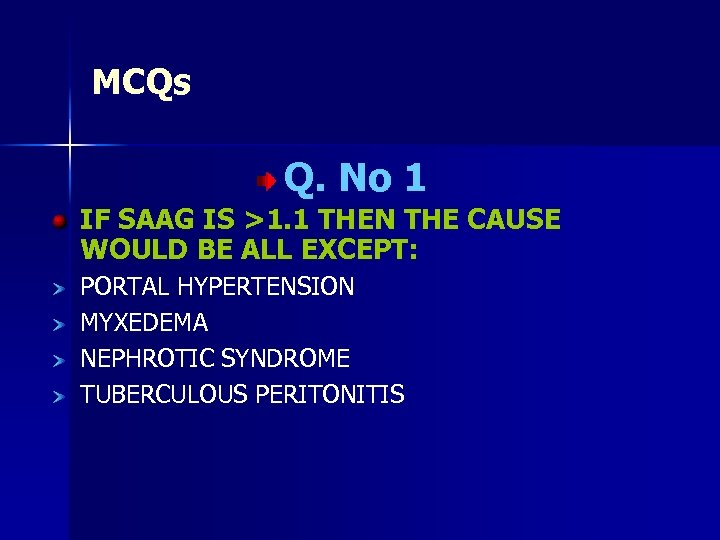 MCQs Q. No 1 IF SAAG IS >1. 1 THEN THE CAUSE WOULD BE