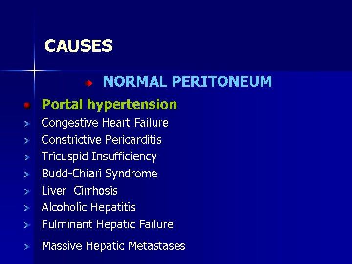 CAUSES NORMAL PERITONEUM Portal hypertension Congestive Heart Failure Constrictive Pericarditis Tricuspid Insufficiency Budd-Chiari Syndrome