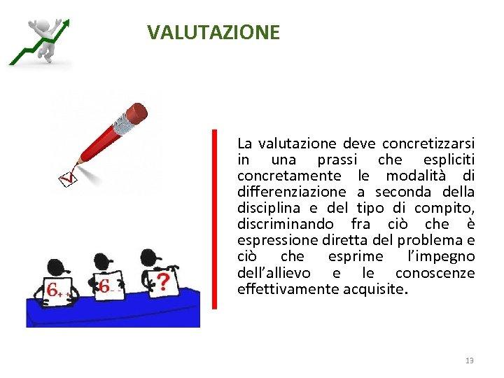 VALUTAZIONE La valutazione deve concretizzarsi in una prassi che espliciti concretamente le modalità di