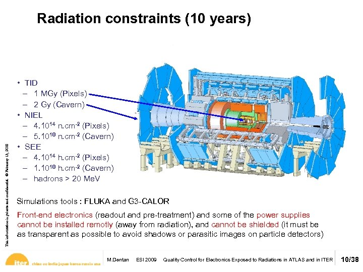 This information is private and confidential. © February 13, 2008 Radiation constraints (10 years)