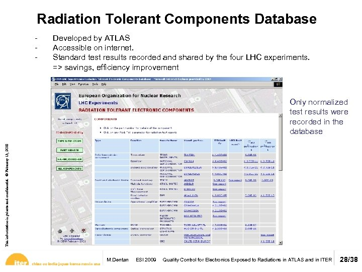 Radiation Tolerant Components Database - Developed by ATLAS Accessible on internet. Standard test results
