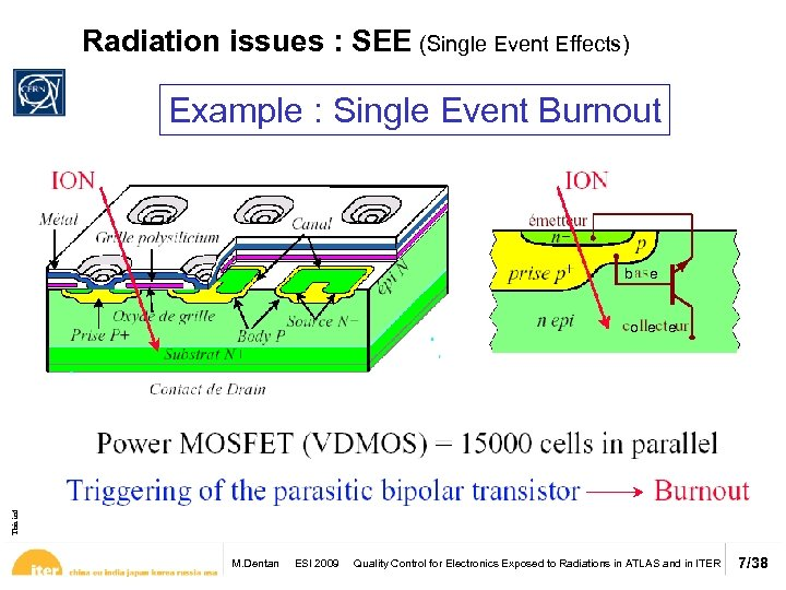Radiation issues : SEE (Single Event Effects) Example : Single Event Burnout This information