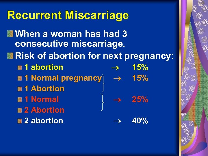 Recurrent Miscarriage When a woman has had 3 consecutive miscarriage. Risk of abortion for