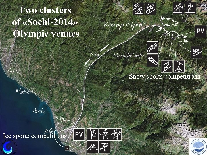 Two clusters of «Sochi-2014» Olympic venues Snow sports competitions Ice sports competitions
