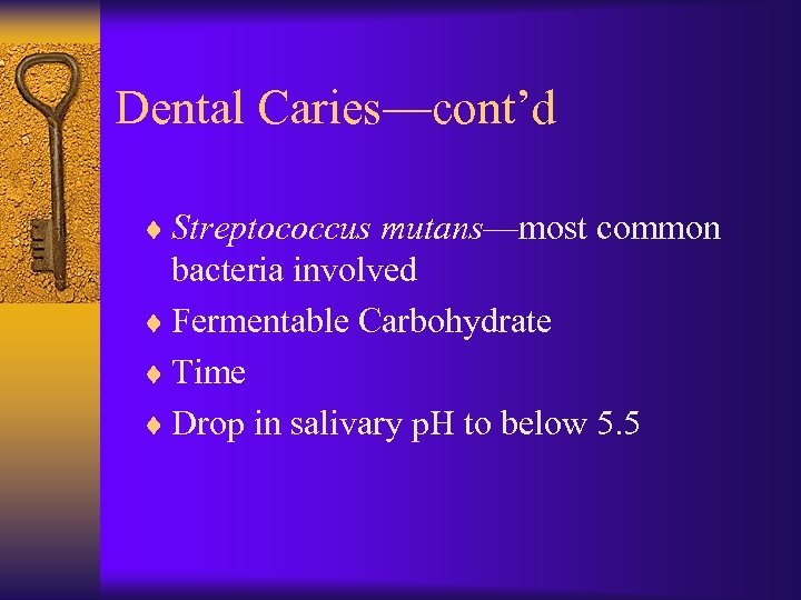 Dental Caries—cont'd ¨ Streptococcus mutans—most common bacteria involved ¨ Fermentable Carbohydrate ¨ Time ¨