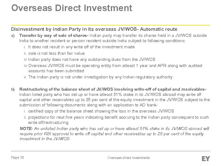 Overseas Direct Investment Disinvestment by Indian Party in its overseas JV/WOS- Automatic route a)