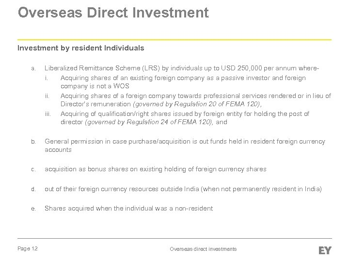 Overseas Direct Investment by resident Individuals a. Liberalized Remittance Scheme (LRS) by individuals up