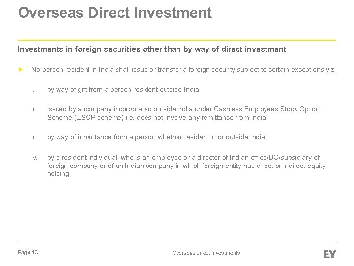 Overseas Direct Investments in foreign securities other than by way of direct investment ►
