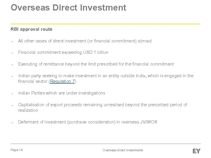 Overseas Direct Investment RBI approval route – All other cases of direct investment (or