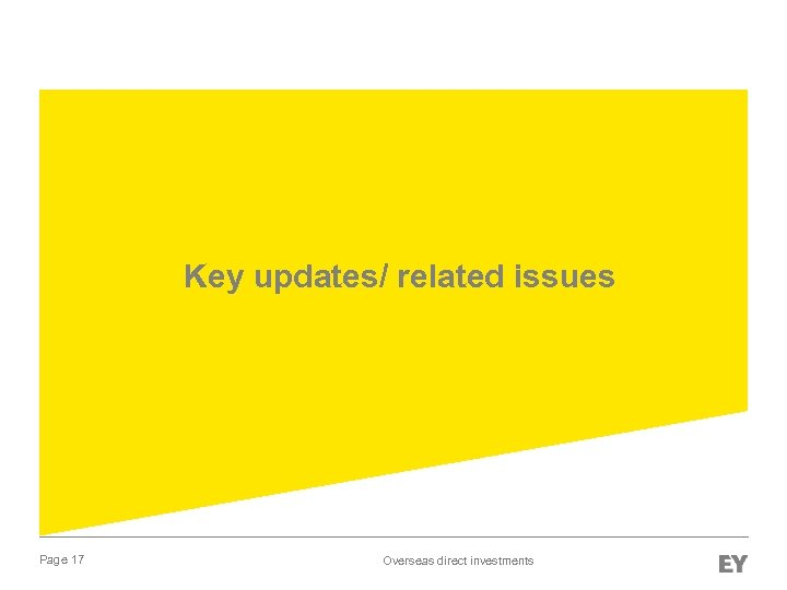 Key updates/ related issues Page 17 Overseas direct investments