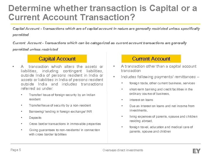 Determine whether transaction is Capital or a Current Account Transaction? Capital Account - Transactions