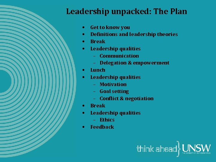 Leadership unpacked: The Plan • • • Get to know you Definitions and leadership