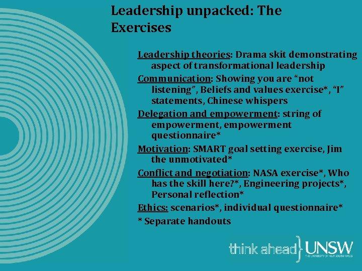 Leadership unpacked: The Exercises Leadership theories: Drama skit demonstrating aspect of transformational leadership Communication:
