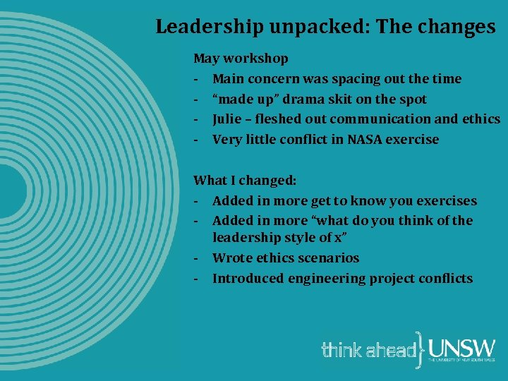 Leadership unpacked: The changes May workshop - Main concern was spacing out the time