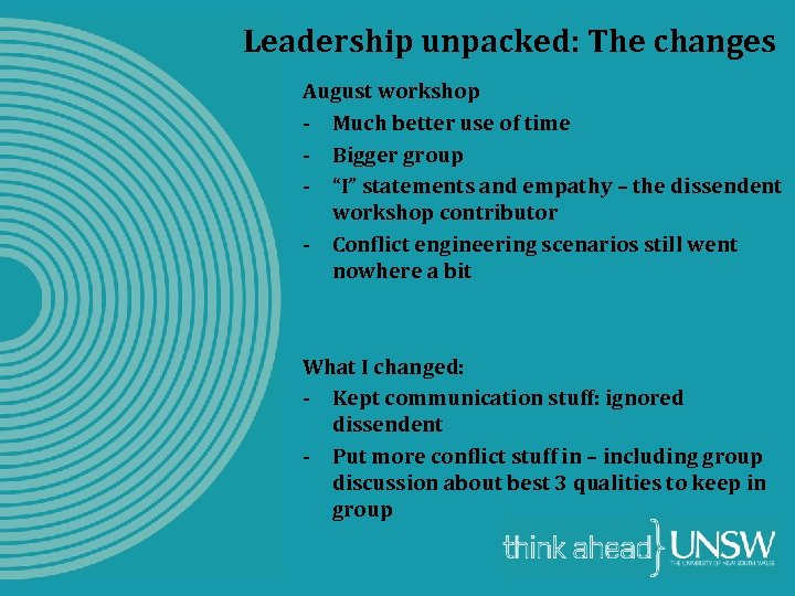 Leadership unpacked: The changes August workshop - Much better use of time - Bigger