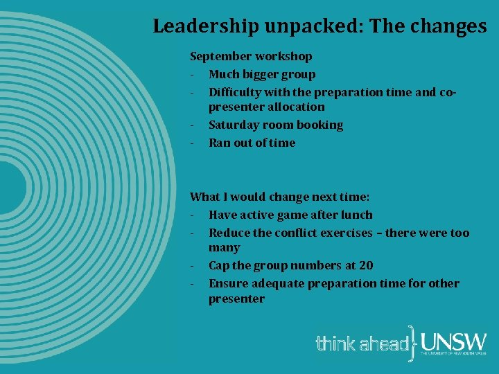 Leadership unpacked: The changes September workshop - Much bigger group - Difficulty with the
