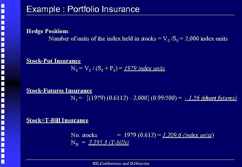 Example : Portfolio Insurance Hedge Positions Number of units of the index held in