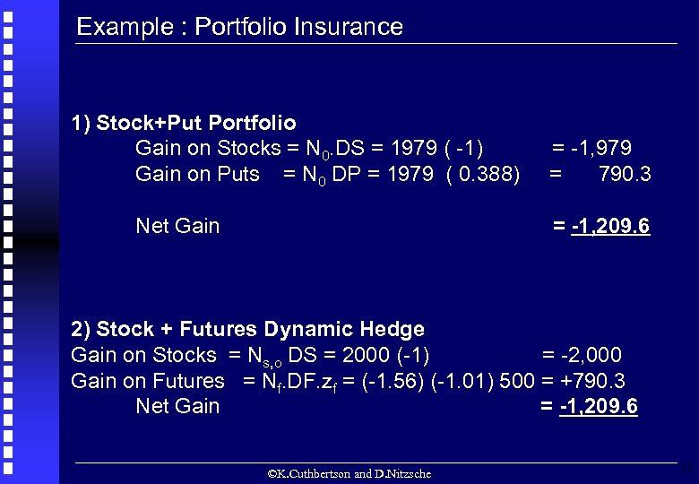 Example : Portfolio Insurance 1) Stock+Put Portfolio Gain on Stocks = N 0. DS