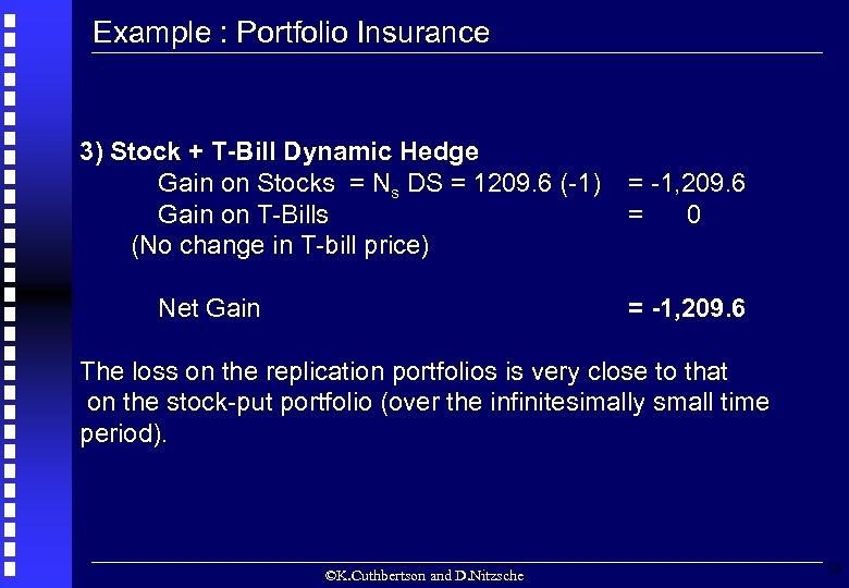 Example : Portfolio Insurance 3) Stock + T-Bill Dynamic Hedge Gain on Stocks =