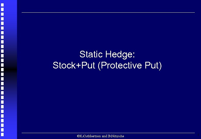 Static Hedge: Stock+Put (Protective Put) ©K. Cuthbertson and D. Nitzsche 3