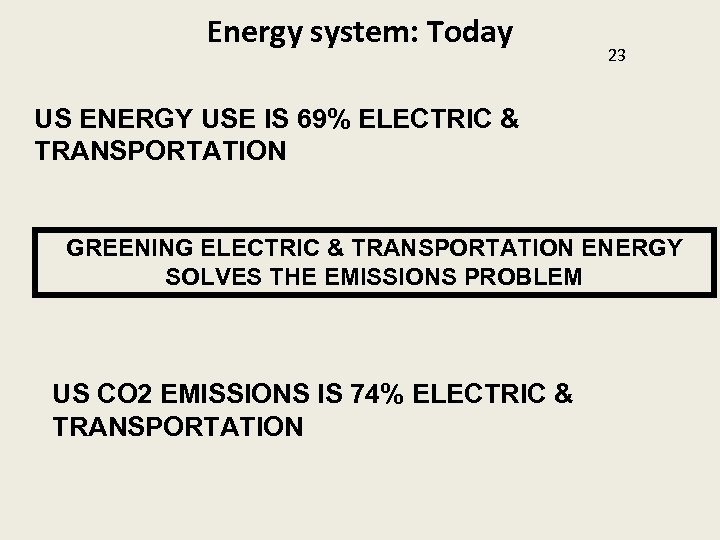 Energy system: Today 23 US ENERGY USE IS 69% ELECTRIC & TRANSPORTATION GREENING ELECTRIC