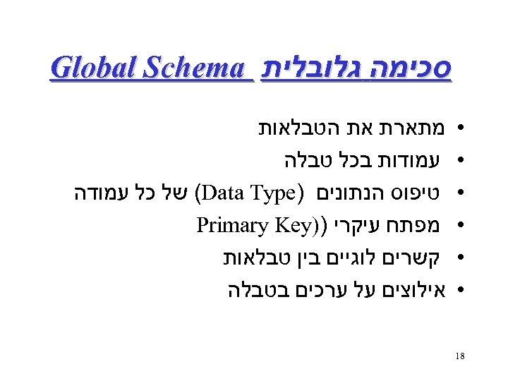 סכימה גלובלית Global Schema • • • 81 מתארת את הטבלאות עמודות בכל