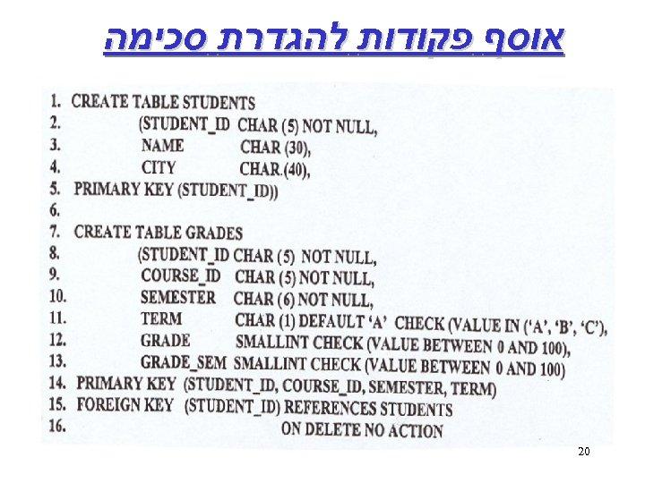 אוסף פקודות להגדרת סכימה 02