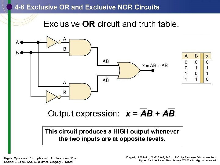 4 -6 Exclusive OR and Exclusive NOR Circuits Exclusive OR circuit and truth table.
