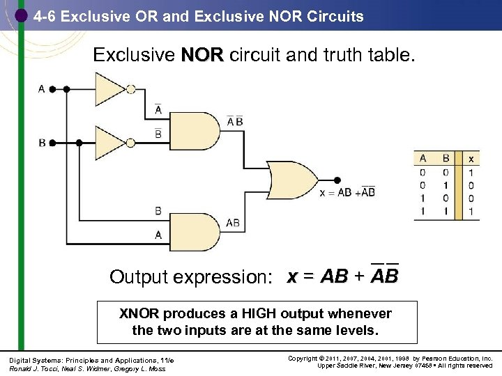 4 -6 Exclusive OR and Exclusive NOR Circuits Exclusive NOR circuit and truth table.