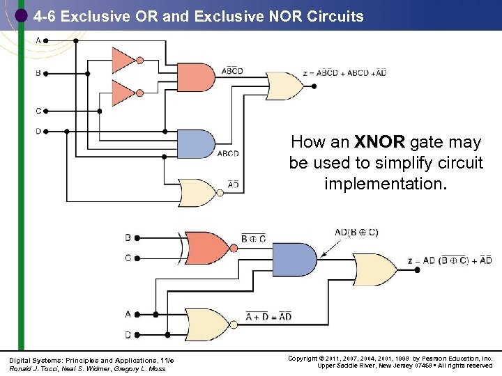 4 -6 Exclusive OR and Exclusive NOR Circuits How an XNOR gate may be