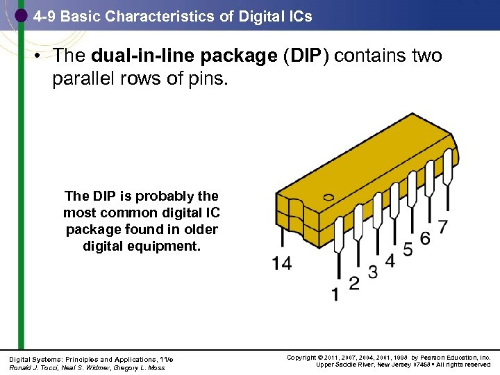 4 -9 Basic Characteristics of Digital ICs • The dual-in-line package (DIP) contains two
