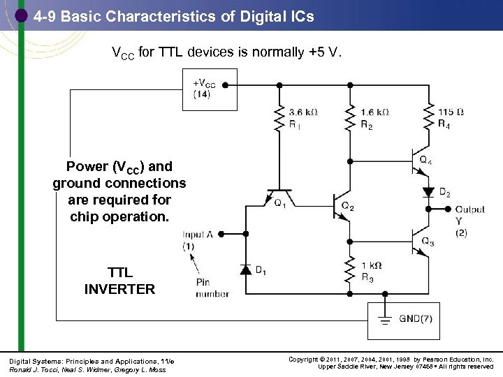 4 -9 Basic Characteristics of Digital ICs VCC for TTL devices is normally +5