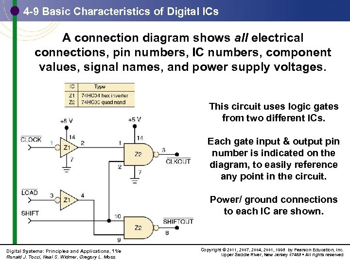 4 -9 Basic Characteristics of Digital ICs A connection diagram shows all electrical connections,
