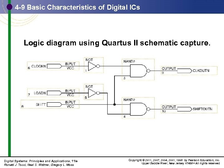 4 -9 Basic Characteristics of Digital ICs Logic diagram using Quartus II schematic capture.