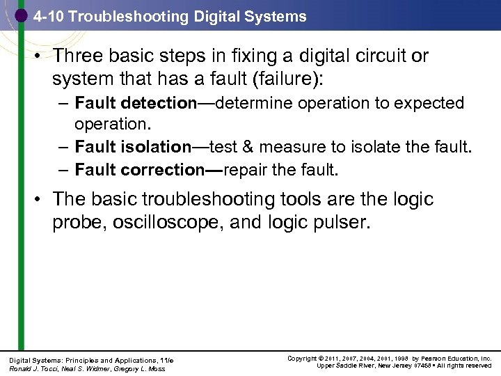 4 -10 Troubleshooting Digital Systems • Three basic steps in fixing a digital circuit